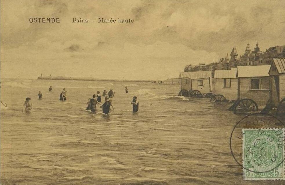 OSTENDE     BAINS    MAREE HAUTE    1911    CPA