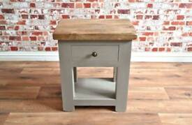 Rustic Wood Lamp Telephone Side Table with Drawer in Matt French Grey Finish - Free Delivery