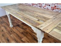 Painted Finish Farmhouse Kitchen Dining Table Turned Leg - 7-10 FT Rustic Extendable Seats 14-16
