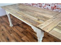 Extendable Rustic Farmhouse Dining Kitchen Table Painted F&B- Folding, Ergonomic, Space Saving