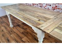 Extendable Rustic Farmhouse Dining Table Painted Finish - Any Farrow & Ball Colour! - Seats up to 12