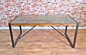 Java Industrial Dining Table 6-8 Seater made from Reclaimed Boatwood & Steel - Brand New