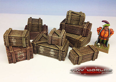 28mm Resin Crates Set - 10 Pieces - Wargames Scenery Warhammer Wooden Boxes