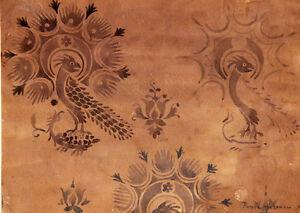 dessin l 39 aquarelle du moyen age decor d 39 oiseaux et frises ebay. Black Bedroom Furniture Sets. Home Design Ideas
