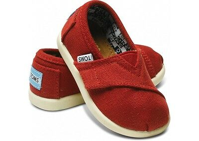 Tiny Toms Classics Red Infant Toddler Baby Boy Girl Canvas Shoes All Sizes