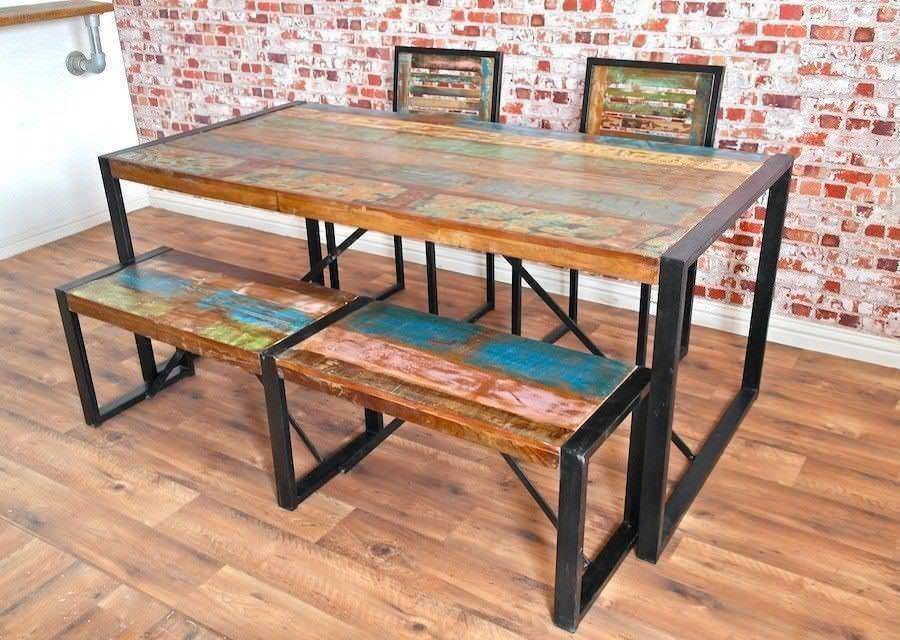 Rustic Industrial Dining Sets Table Benches Chairs Reclaimed Boat Wood