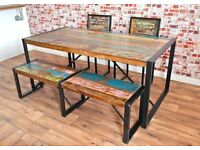 Industrial Steel Rustic Reclaimed Boatwood Dining Sets - Wide Range of Options Benches Chairs