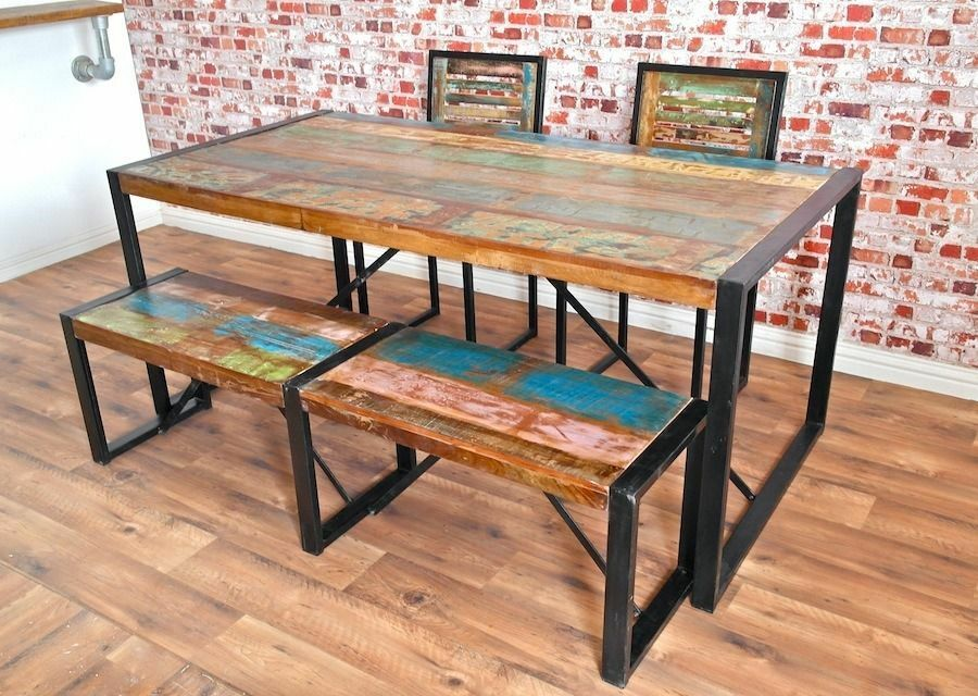 Industrial Steel Rustic Reclaimed Boatwood Dining Sets  : 86 from www.gumtree.com size 900 x 640 jpeg 123kB