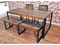 Rustic Industrial Reclaimed Boatwood Dining Sets - Wide Range of Options - Benches Chairs