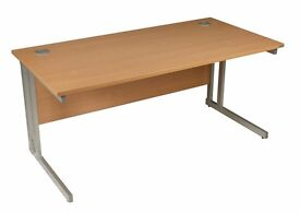 Straight beech office desk