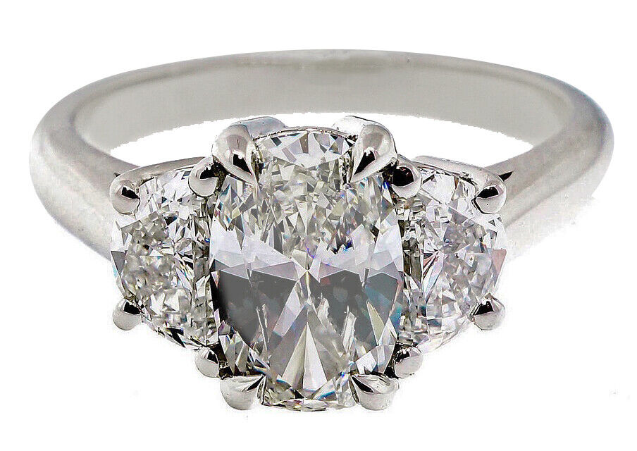 GIA Certified Diamond Engagement Ring  3 Stone 2.40 CTW Oval Cut & Half moon 18k