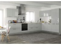 """""""Brand New"""" Slab gloss dove grey kitchen £1195. Complete with appliance set and worktop."""