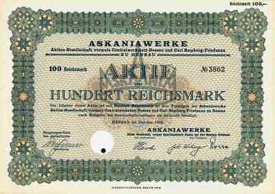 Askaniawerke Centralwerkstatt Carl Bamberg AG 1932 Dessau Friedenau 100 RM Conti