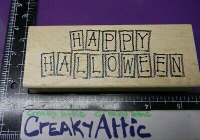 HAPPY HALLOWEEN BOXES RUBBER STAMP NORTHWOODS N6193 CREAKYATTIC (Happy Halloween N)