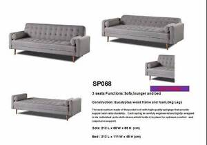 Brand New 3 Seater Grey Fabric Sofa Bed Couch Loung (SP068) Clayton South Kingston Area Preview