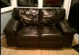 2 seater brown soft leather sofa