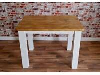 Four Seater Rustic Reclaimed Dining Set with Square-Leg Dining Table and Upholstered Dining Chairs