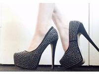 Size 4 Black Gem / Stud / Sparkle Heels with Platform