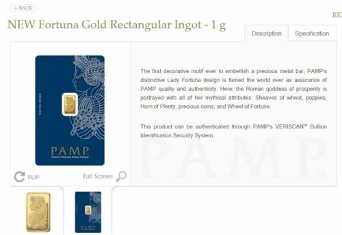 1 G Gold Bar PAMP Card Sealed w Serial # & Certificate # Suisse NEW Lady Fortuna