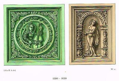 "Chromolithograph of MIDDLE AGES - ""DECORATIVE TILES"" by Hefner-Alteneck in 1840"