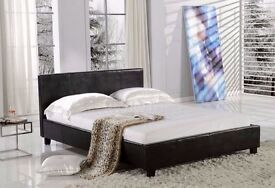 BRAND NEW LEATHER BED - -DOUBLE LEATHER BED FRAME BLACK-BROWN- GOOD DEAL WITH MATTRESS