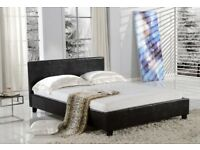 BLACK BROWN OR WHITE- NEW DOUBLE AND KING LEATHER BED FRAME WITH DEEP QUILT ORTHOPEDIC MATTRESS
