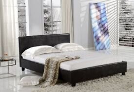 BLACK BROWN OR WHITE- DOUBLE SIZE FAUX LEATHER DOUBLE BED FRAME + 9 INCH DEEP QUILT MATTRESS