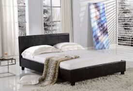 Brand New Double Bed Frame Base Low Foot End & Mattress   Expresso Brown Faux Leather