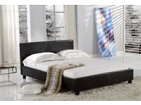 ***⚫***BEST PRICE OFFERED***⚫*** NEW Double Leather Bed with 8inch Dual-Sided Economy Mattress