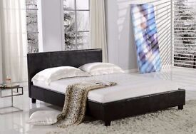 SINGLE,DOUBLE & KING SIZE /// HIGH QUALITY FAUX LEATHER BED FRAME (GOOD DEAL WITH MATTRESS)