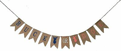 Burlap Baby Shower Banner (JennyGems - Buck Or Doe - Gender Reveal Banner - Baby Shower Burlap)