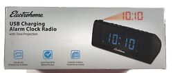 New Electrohome USB Charging Alarm Clock Radio With Time Projection & Duel Alarm