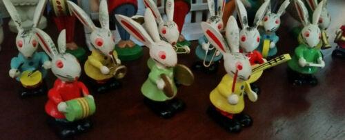 Vtg 12 Miniature Bunny Rabbit Musical Band EASTER Wood Ornament Figures japan