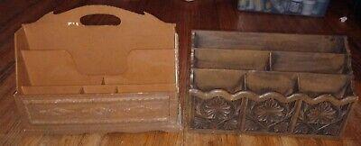 Vintage Lerner Farmhouse Desk Organizer Medium Faux Wood Mail Letter Holder Lot