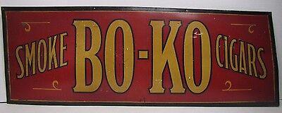 Antique SMOKE BO-KO CIGARS Advertising Sign original Pat 1918 Kemper-Thomas Ohio