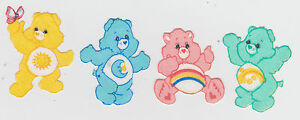 4-CARE-BEARS-FUNSHINE-BEDTIME-CHEER-WISH-BEAR-FABRIC-APPLIQUE-SET-IRON-ON