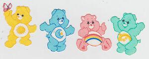 4-CARE-BEARS-FUNSHINE-BEDTIME-CHEER-WISH-BEAR-FABRIC-APPLIQUE-SET-IRON-ON