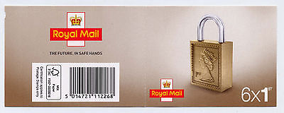 GB 2016 6 x 1st CLASS SELF ADHESIVE STAMPS CYLINDER W7 PADLOCK BOOKLET M16L MB17