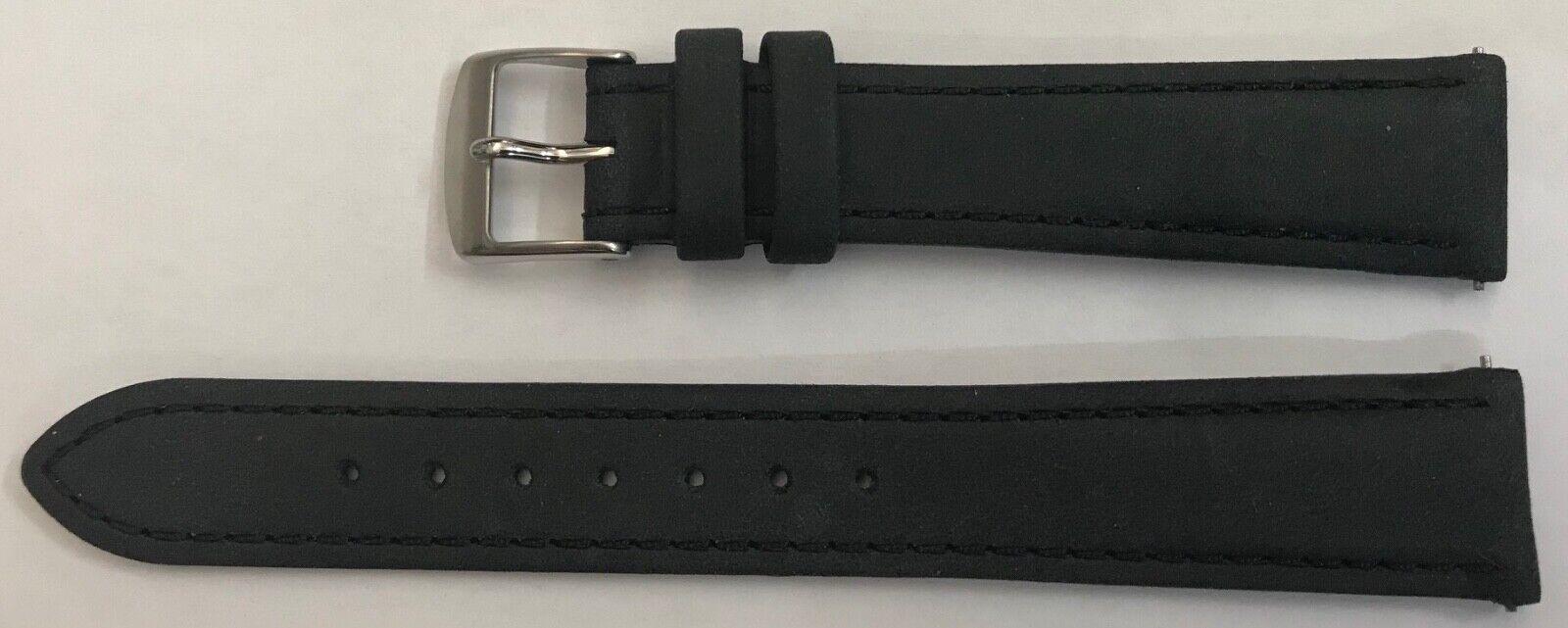 Oris 17mm  Echt Leder Uhren Armband in Schwarz stahl Dornschliesse