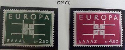 2 X Timbre Stamp Grèce Ellas Greece 1963 YT 799 800 EUROPA CEPT Neufs
