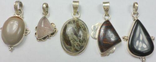 5 Vintage 925 Sterling Silver Jasper Onyx Tiger Eye Quartz Stone Pendant 80 Gram