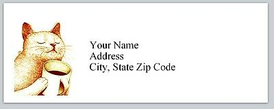Personalized Address Labels Cat With Coffee Mug Buy 3 Get 1 Free Bx 216