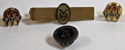 Vtg Van Heusen Phillips Clothing Service Pin 5 10 15 20Yr Tie Tac Bar Clasp Set