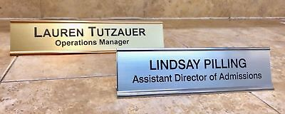 NAME PLATE W/ HOLDER OFFICE DESK ENGRAVED DOOR/WALL PERSONALIZED 2X8, 2X10, 2X12