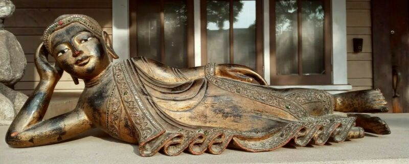 "Vintage Burmese Reclining Mandalay Carved Buddha Gilded Wood Jeweled Inlays  35"""