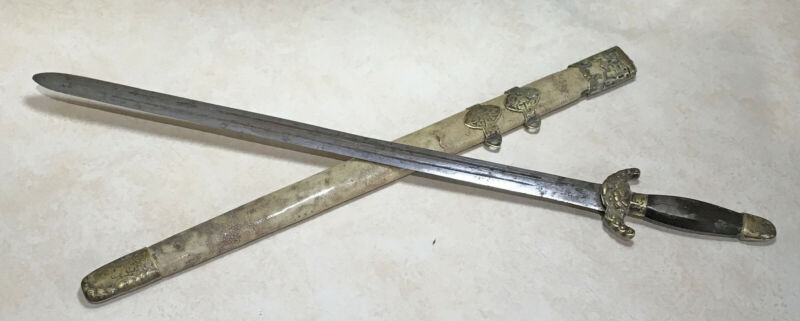 Late Qing Dynasty Chinese Jian Short Sword With Scabbard