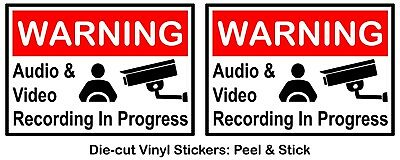 - (Set of 2) Warning - Video & Audio Recording HD Color Vinyl decal sticker car v2