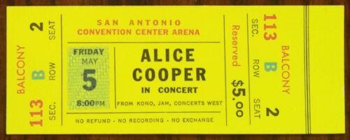 Alice Cooper-1972 RARE Unused Concert Ticket (San Antonio-Convention Center)