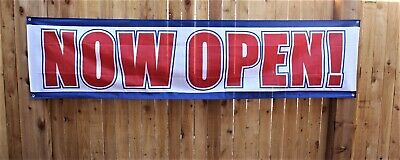 New Now Open Banner Sign Huge Red White Blue 2 Feet X 8 Big Restaurant Store