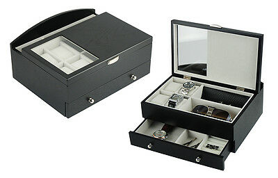 Wood Valet - Decorebay Executive Mens Black Wood Valet Storage Organizer Men's Jewelry Box